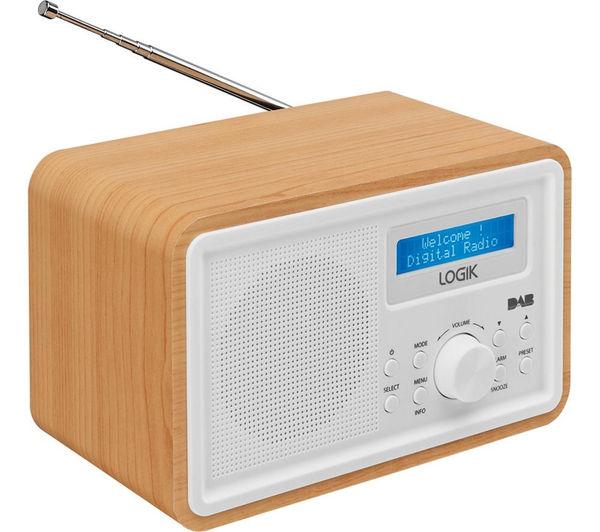 logik lhdr15 portable dab fm clock radio light wood white deals pc. Black Bedroom Furniture Sets. Home Design Ideas