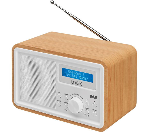 logik lhdr15 portable dab fm clock radio light wood white currys pc world business. Black Bedroom Furniture Sets. Home Design Ideas