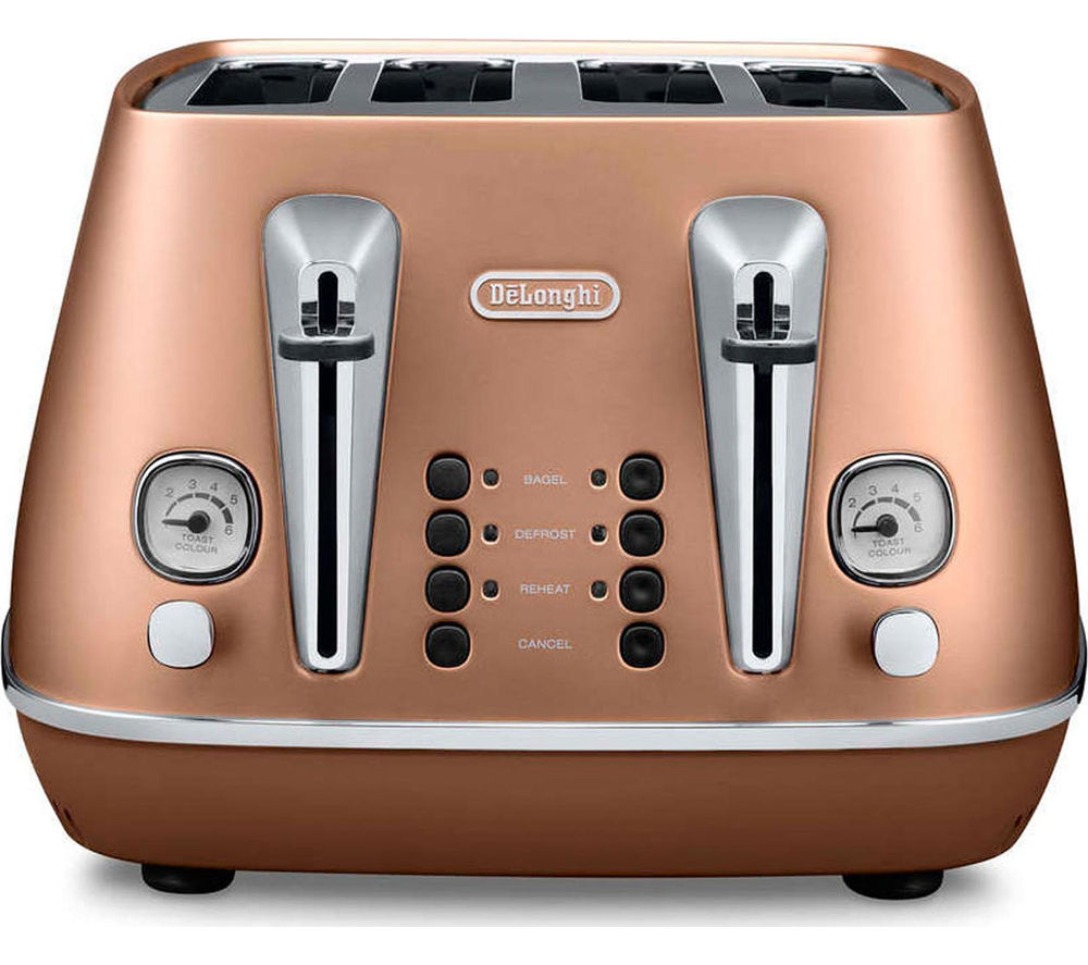 DELONGHI  Distinta CTI4003.CP 4-Slice Toaster - Copper +  Distinta ECI341CP Coffee Machine - Copper