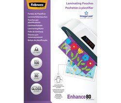 FELLOWES Enhance 80 Micron A4 Laminating Pouches - 100 Pack
