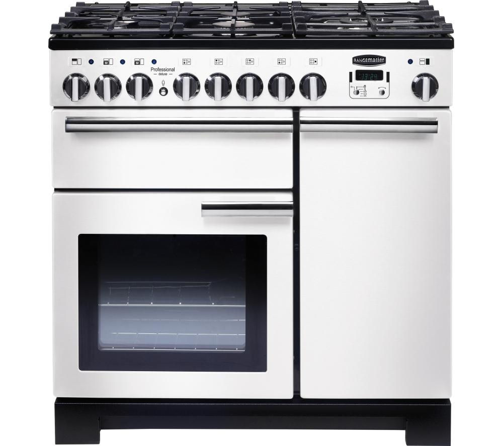 RANGEMASTER Professional Deluxe 90 Dual Fuel Range Cooker - White & Chrome