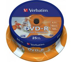VERBATIM DVD-R 16x Photo Printable DVDs - 25 Pack