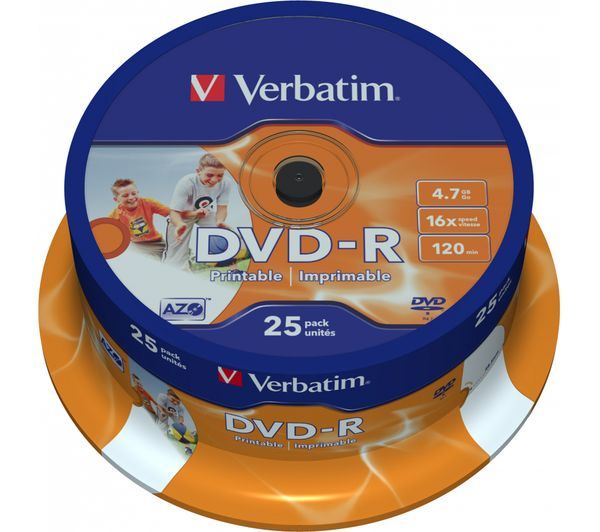 VERBATIM DVD-R 16x Photo Printable DVDs - 25 Pack