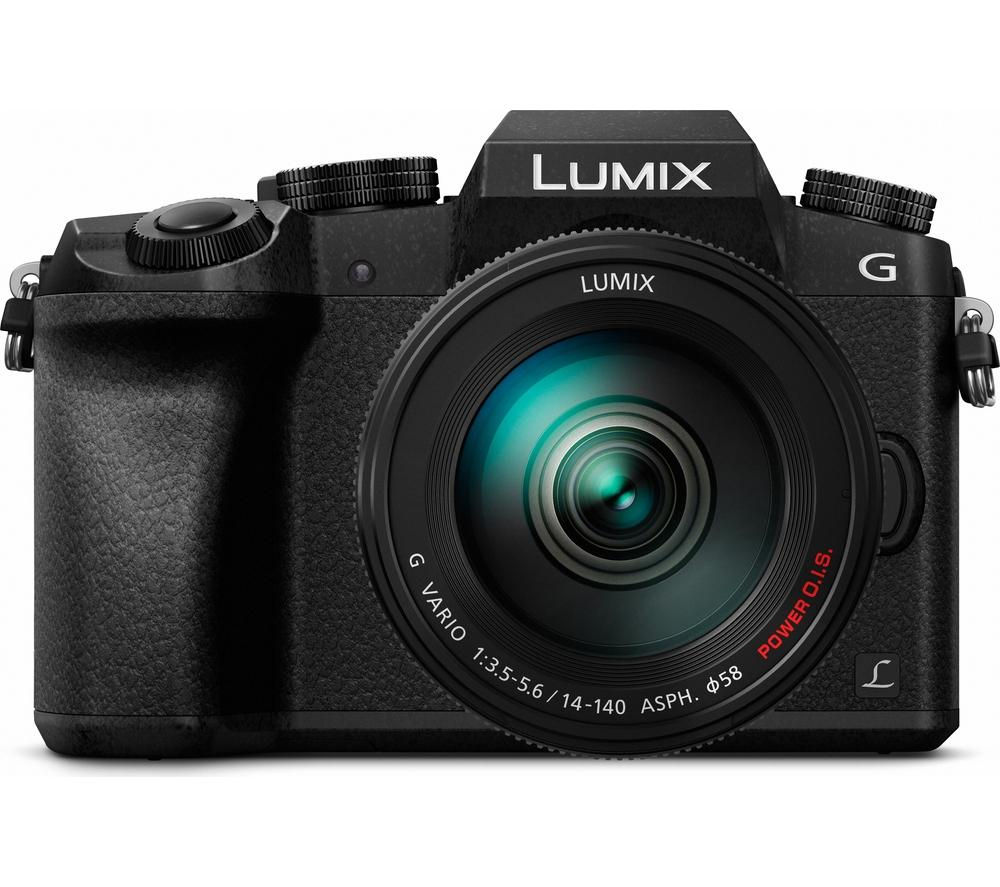 Image of PANASONIC Lumix DMC-G7EB-K Compact System Camera with Lumix G VARIO 14-140 mm f/3.5-5.6 ASPH POWER OIS Telephoto Zoom Lens - Black, Black
