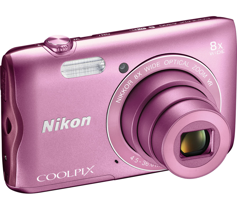 NIKON COOLPIX A300 Compact Camera - Pink + Extreme Plus Class 10 SD Memory Card Twin Pack - 16 GB