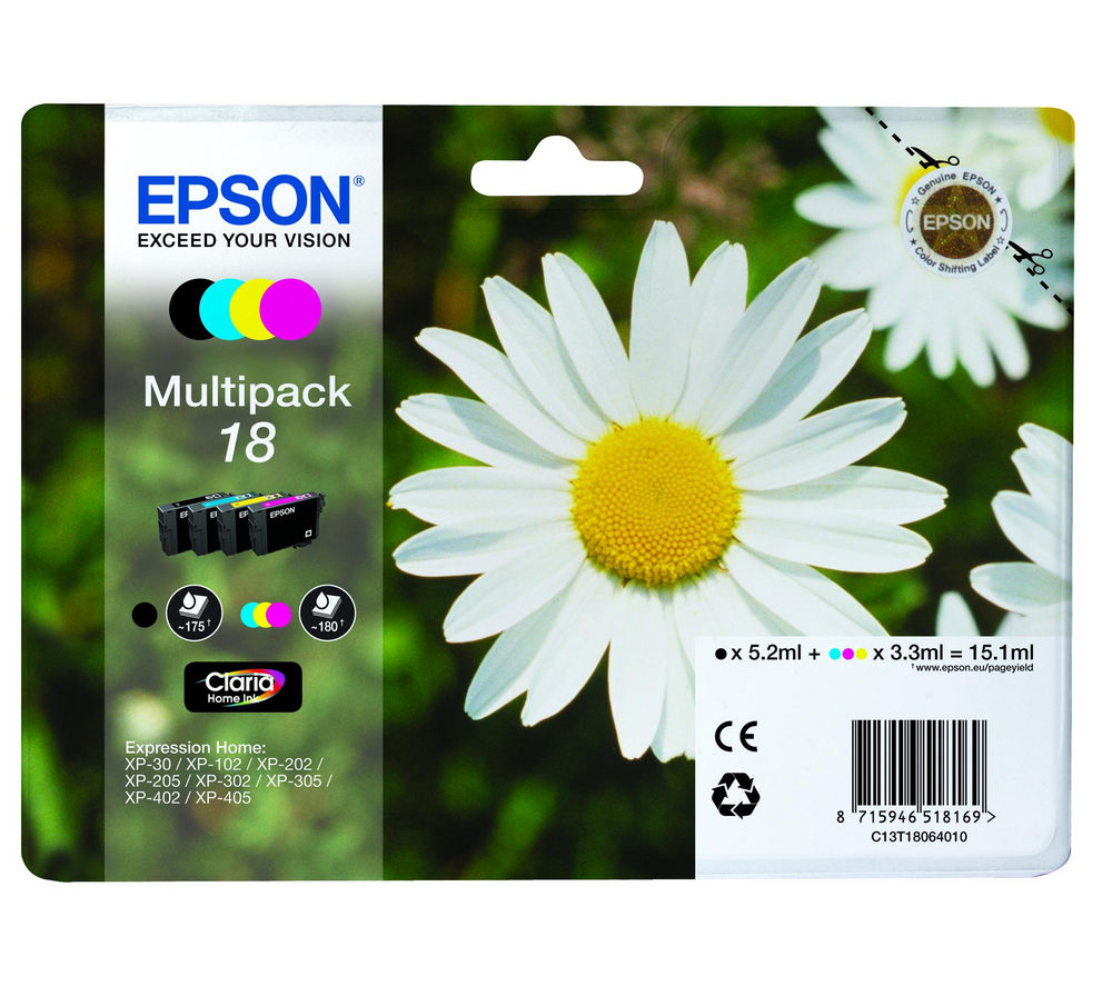 EPSON Daisy T1806 Cyan, Magenta, Yellow & Black Ink Cartridges - Multipack