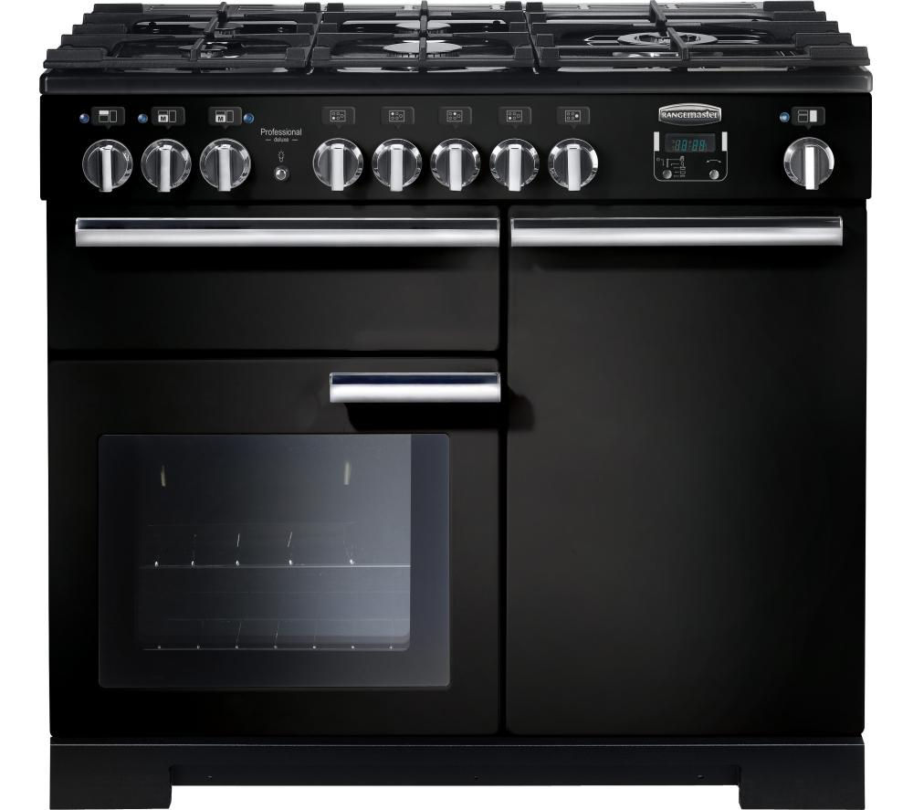 RANGEMASTER Professional Deluxe 100 Dual Fuel Range Cooker - Black & Chrome