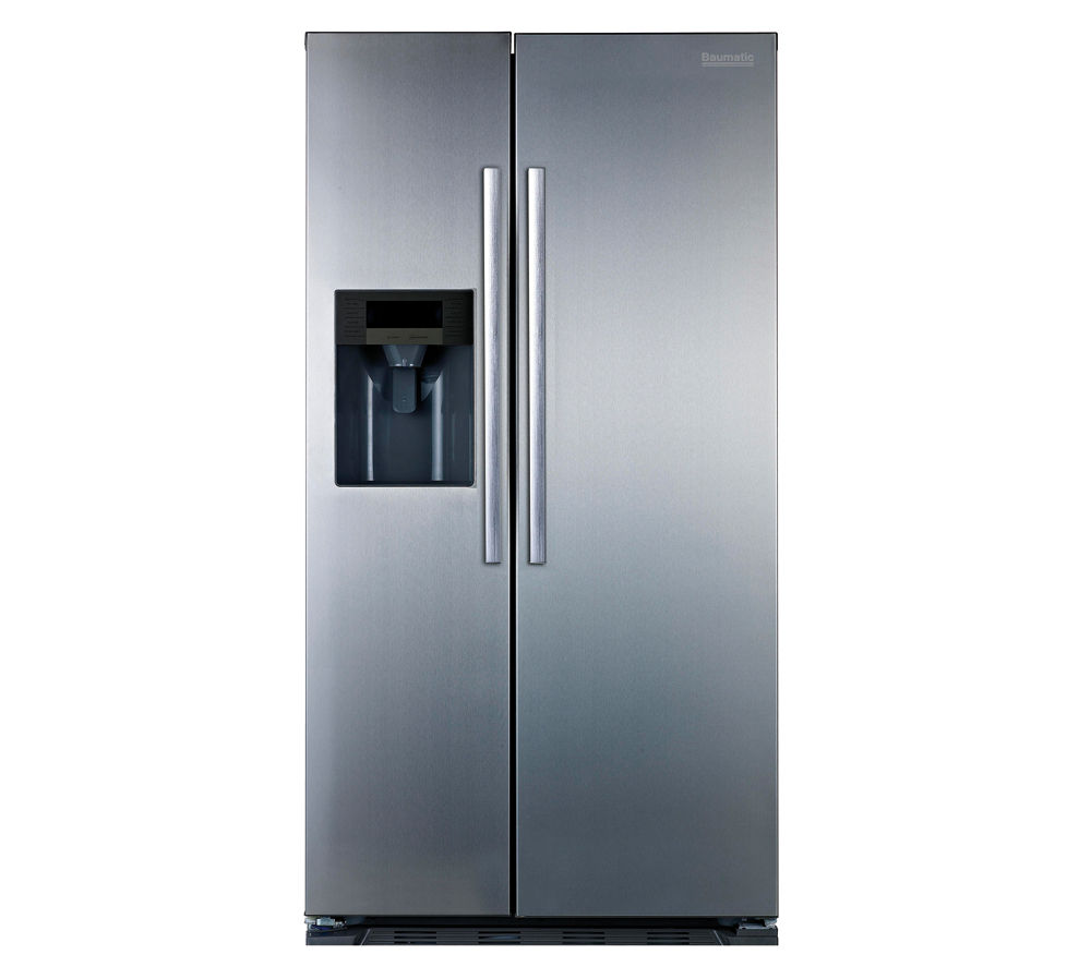 BAUMATIC B25SE American-Style Fridge Freezer - Stainless Steel