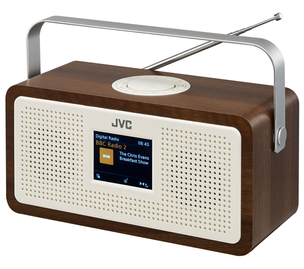 jvc ra ds77 portable dab fm clock radio wood cream deals pc world. Black Bedroom Furniture Sets. Home Design Ideas