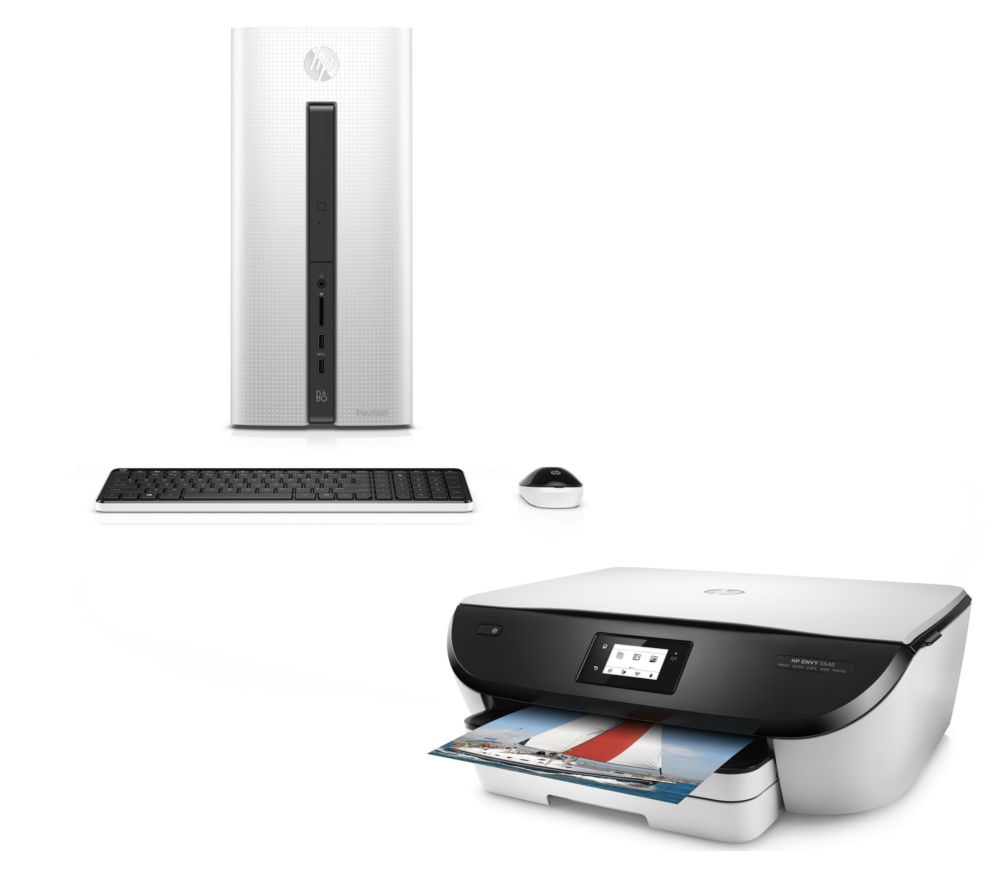 HP Pavilion 550103na Desktop PC & ENVY 5546 Printer Bundle