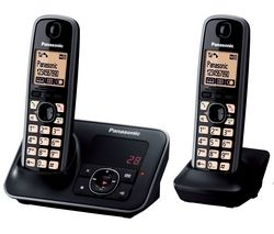 PANASONIC KX-TG6622EB Digital Cordless Phone with Answering Machine - Twin Pack