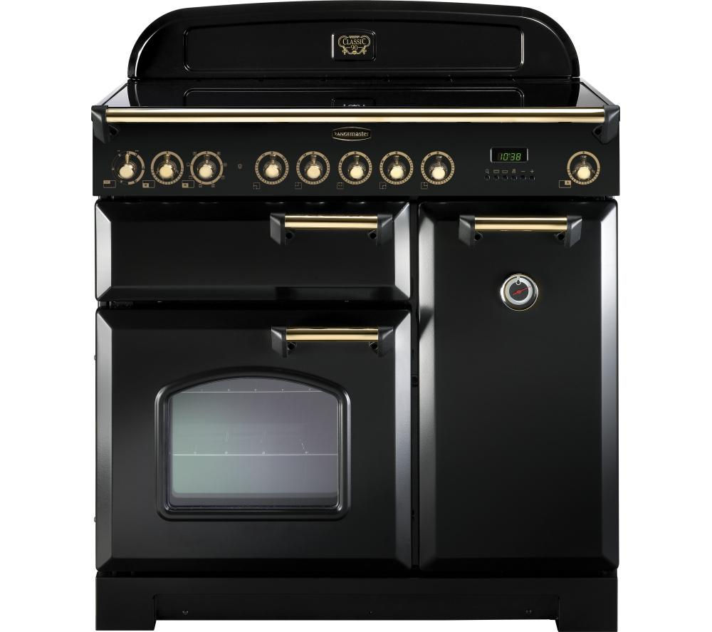 RANGEMASTER  Classic Deluxe 90 Electric Induction Range Cooker  Black & Brass Black