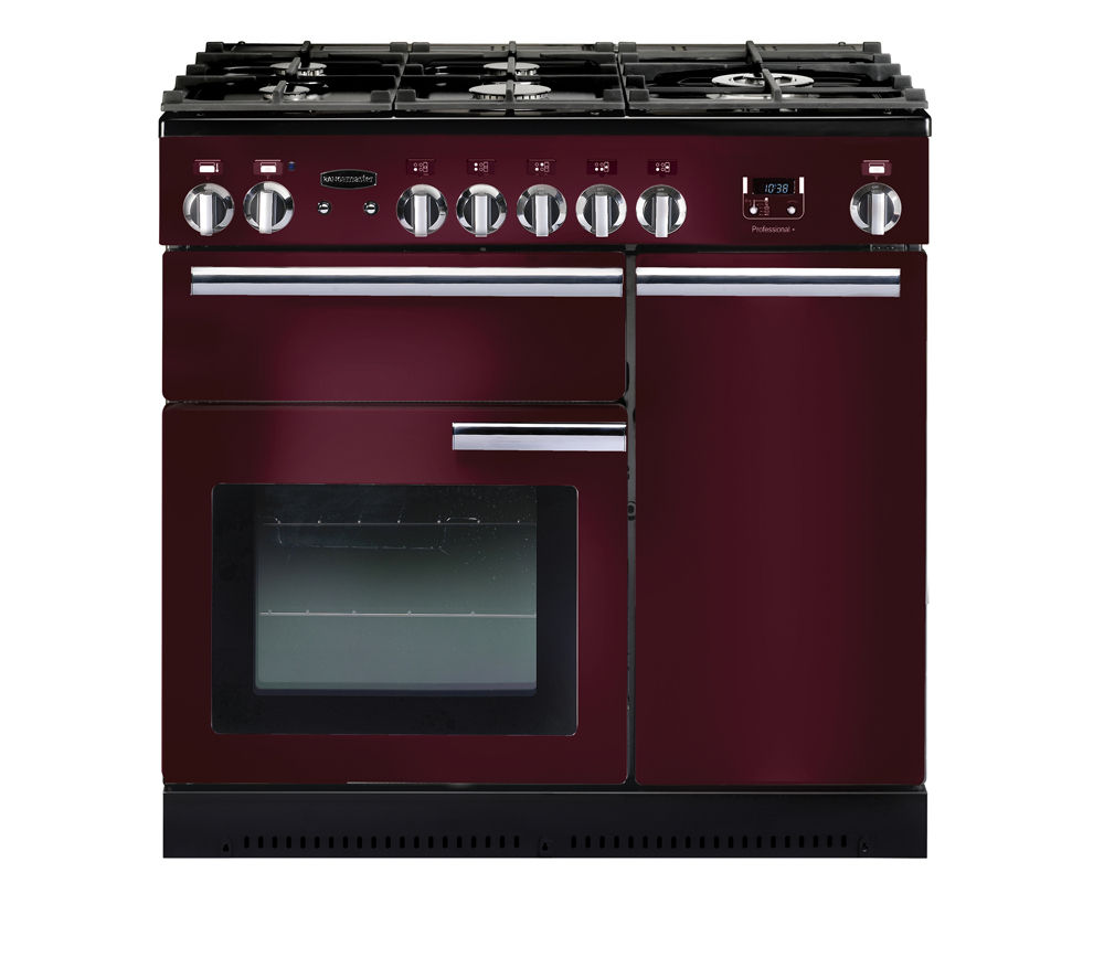 RANGEMASTER  Professional 90 Gas Range Cooker  Cranberry & Chrome Cranberry