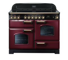 RANGEMASTER Classic Deluxe 110 Electric Ceramic Range Cooker - Cranberry & Brass