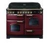RANGEMASTER Classic Deluxe 110 Electric Ceramic Range Cooker - Cranberry & Brass