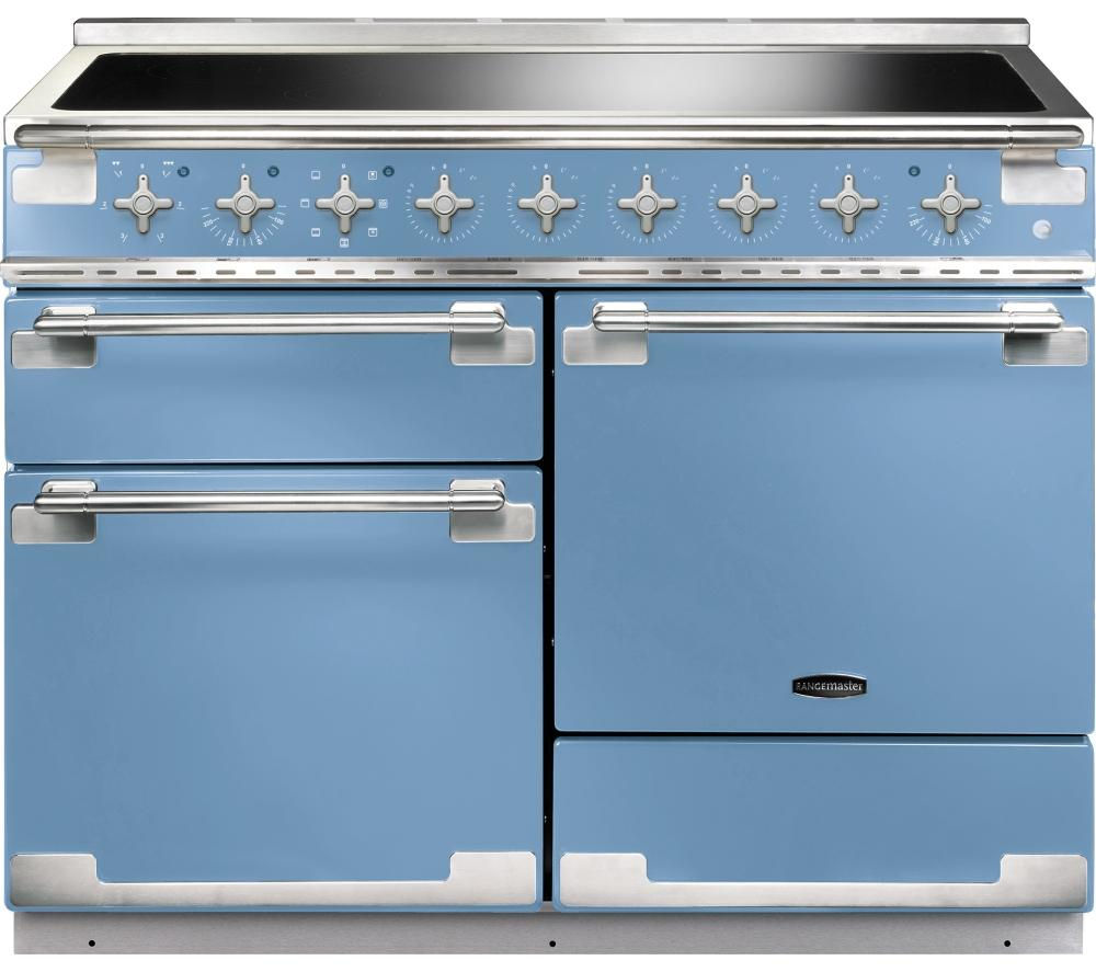 buy rangemaster elise 110 electric induction range cooker china blue chrome free delivery. Black Bedroom Furniture Sets. Home Design Ideas