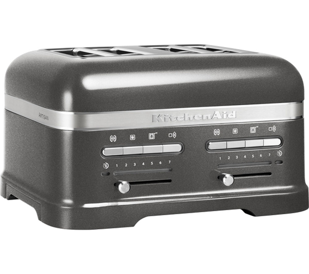Buy kitchenaid 5kmt4205bms artisan 4 slice toaster silver free delivery currys - Artisan toaster slice ...