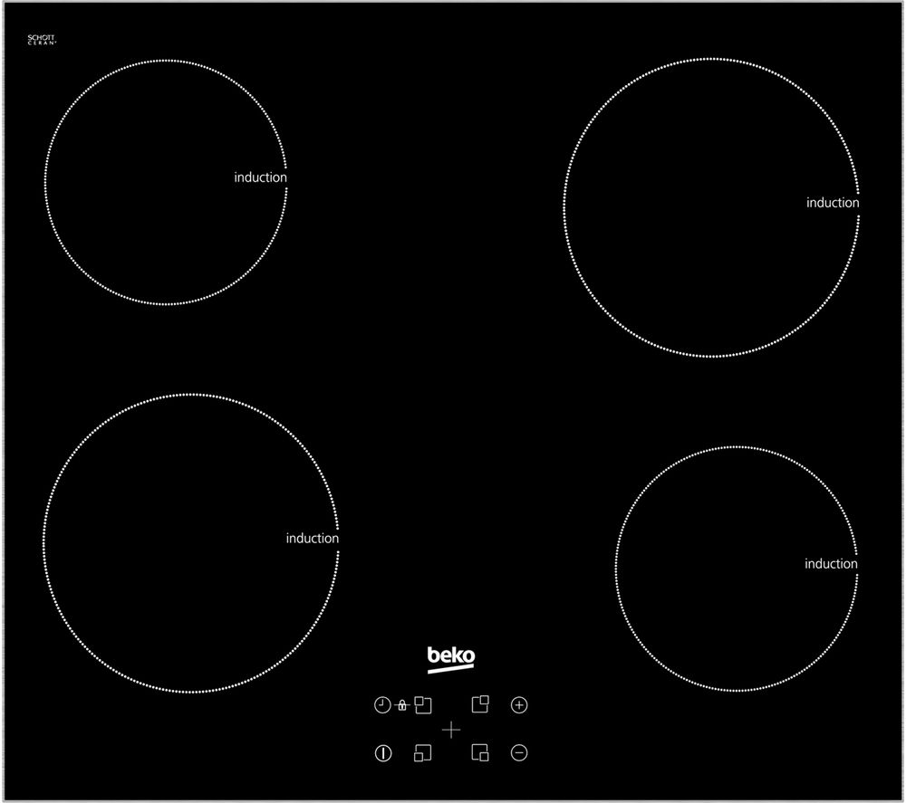BEKO HXI64401ATX Electric Induction Hob - Black + HB60PX Chimney Cooker Hood - Stainless Steel