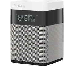 PURE Pop Mini Portable DAB+/FM Clock Radio - Grey & White