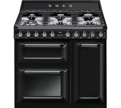 SMEG Victoria TR93BL 90 cm Dual Fuel Range Cooker - Black & Stainless Steel