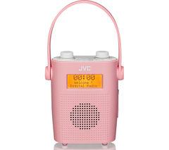 JVC RA-D11-P Portable DAB/FM Bathroom Clock Radio - Pink