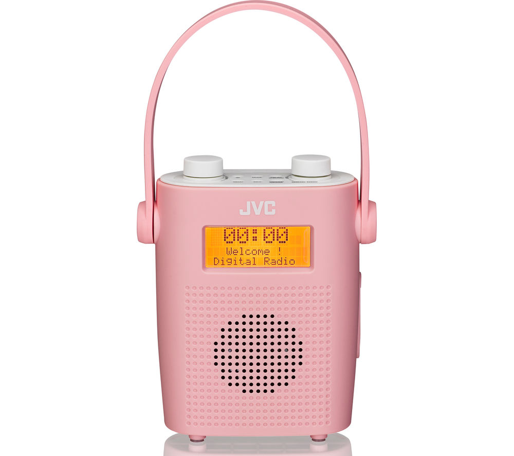 JVC RA-D11-P Portable DAB/FM Bathroom Clock Radio - Pink