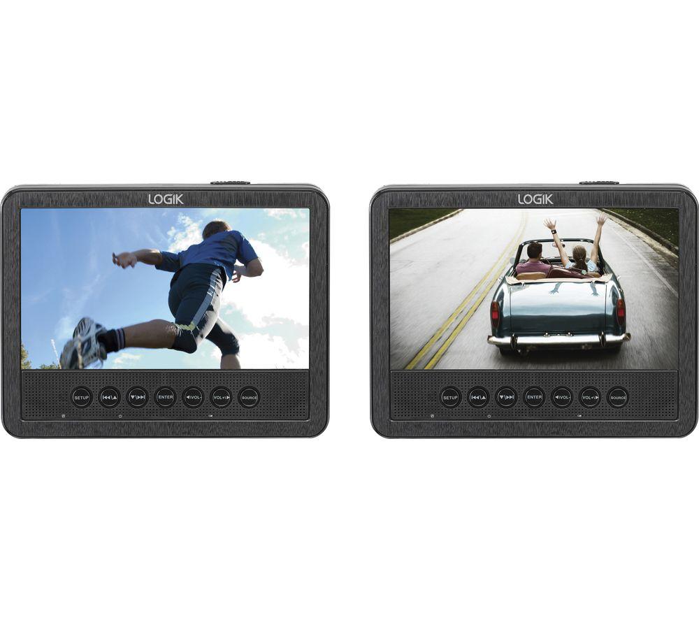 LOGIK  L7DUAMM16 Dual Screen Portable DVD Player - Black & White, Black