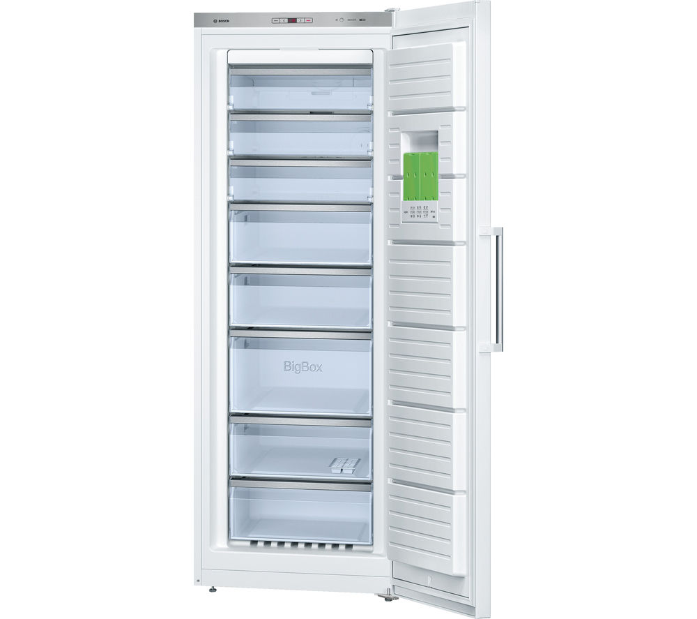 Buy bosch serie 6 gsn58aw30g tall freezer white free for Congelateur armoire 300 litres