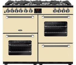 BELLING BEL Kensington 100 DFT 100 cm Dual Fuel Range Cooker - Cream & Chrome