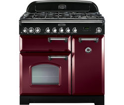 RANGEMASTER Classic Deluxe 90 Dual Fuel Range Cooker - Cranberry & Chrome