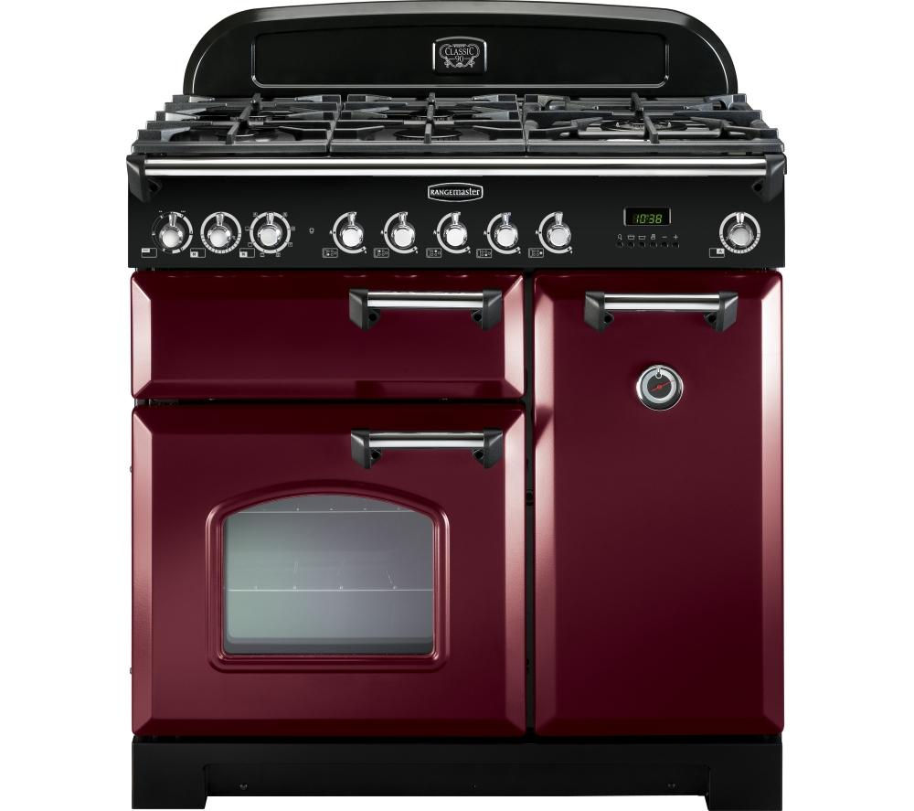RANGEMASTER  Classic Deluxe 90 Dual Fuel Range Cooker  Cranberry & Chrome Cranberry