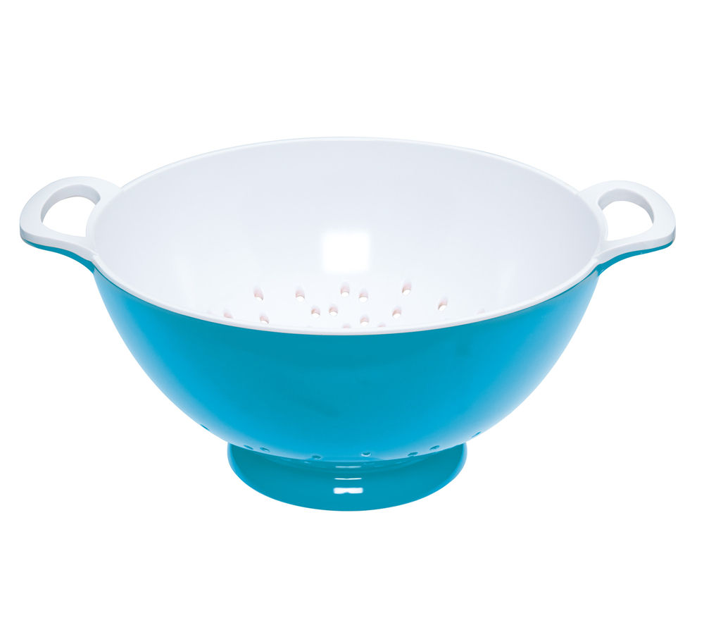 COLOURWORKS Large 24 cm Colander - Blue & White