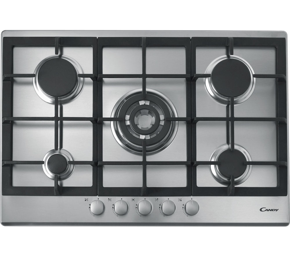 CANDY  CPG75SQGX Gas Hob  Stainless Steel Stainless Steel