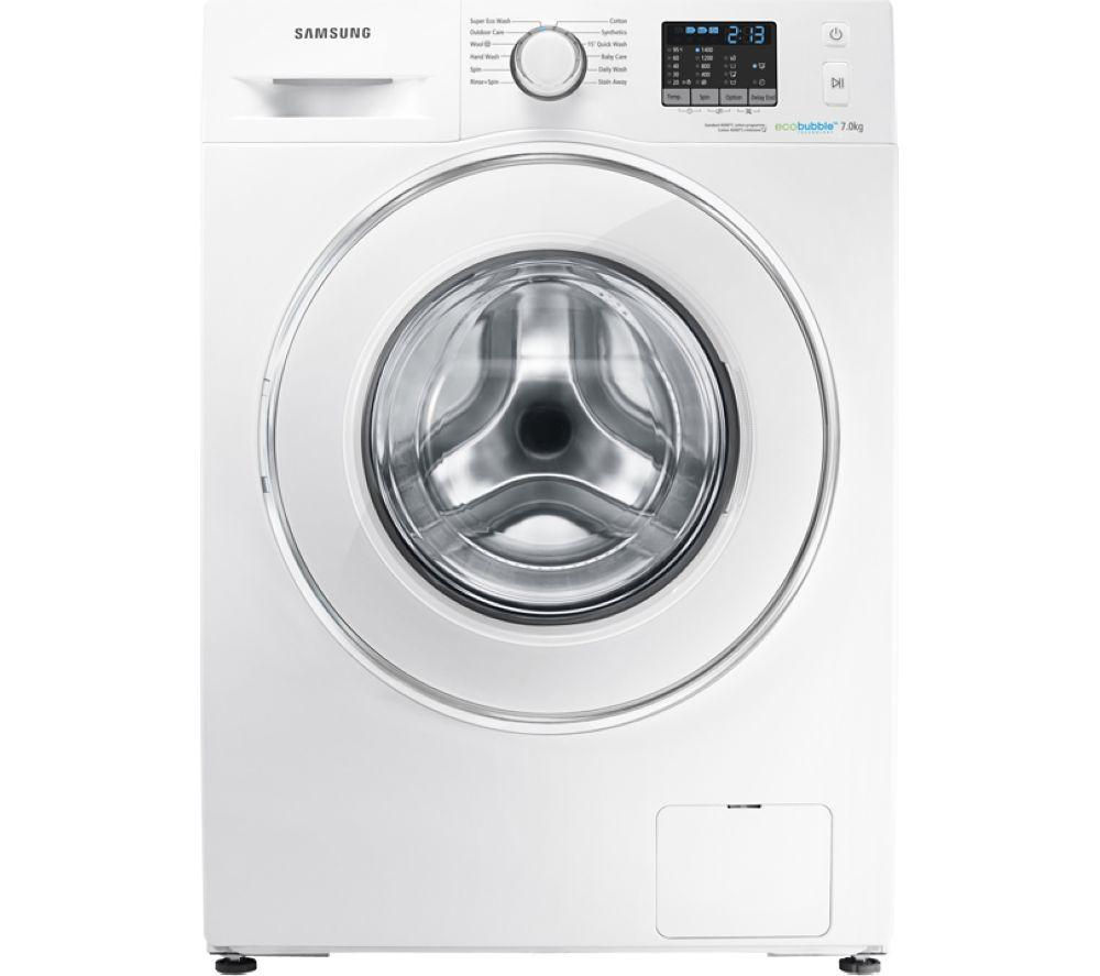 SAMSUNG ecobubble WF70F5E2W4W Washing Machine - White + GTN38250HGCW Heat Pump Tumble Dryer - White