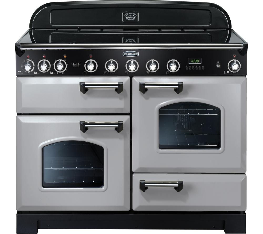 Rangemaster Classic Deluxe 110 Electric Induction Range Cooker  Royal Pearl & Chrome