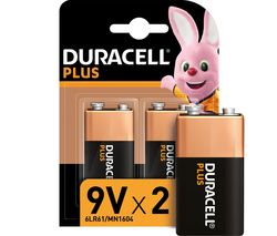 DURACELL 6LR61/MX1604 Plus Power Alkaline 9V Batteries