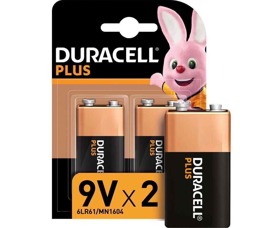 DURACELL  6LR61/MX1604 Plus Power Alkaline 9V Batteries.