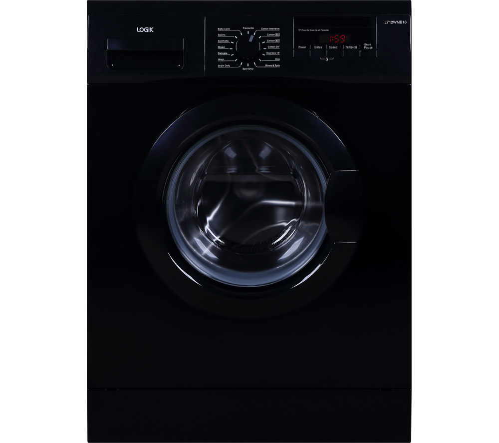 LOGIK  L712WMB16 Washing Machine  Black Black
