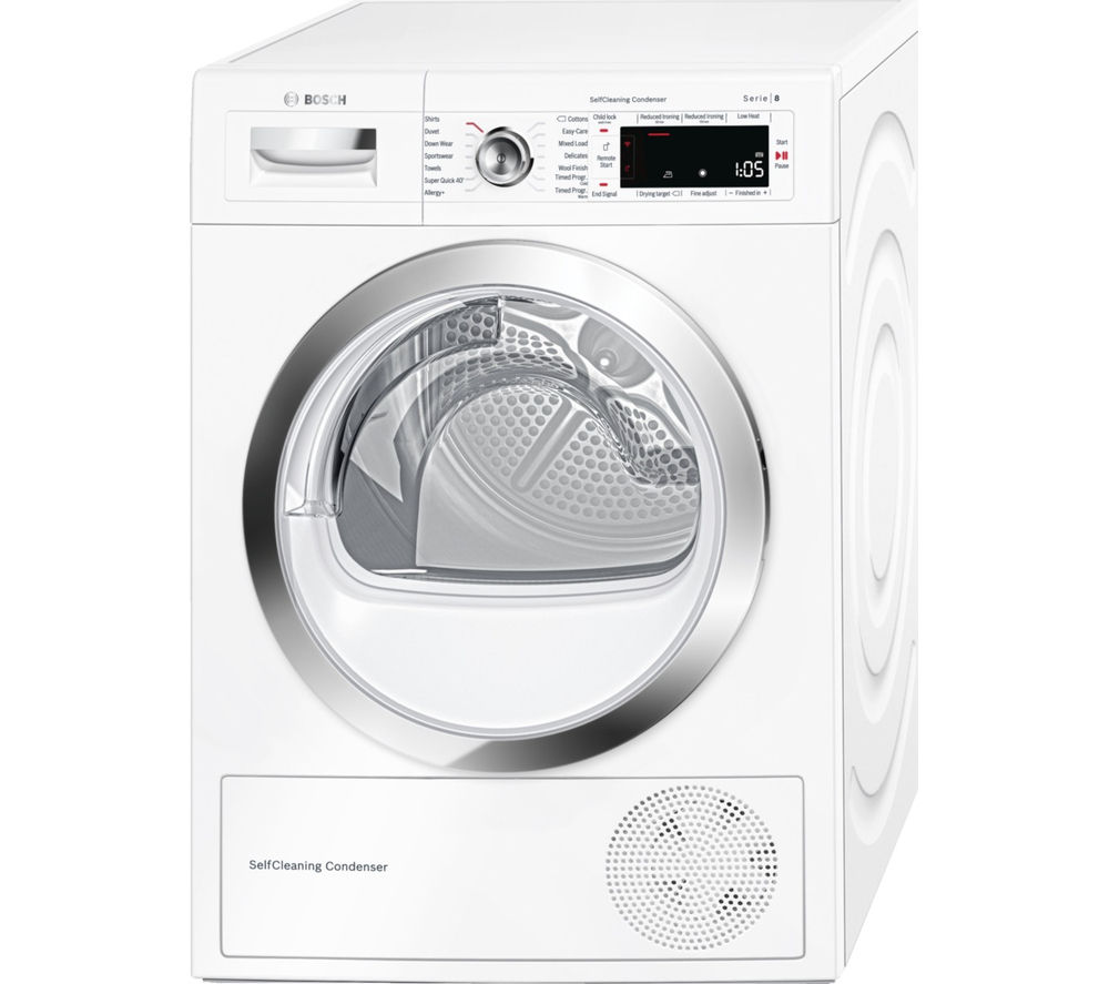 BOSCH  Serie 8 WTWH7560GB Heat Pump Smart Tumble Dryer  White White