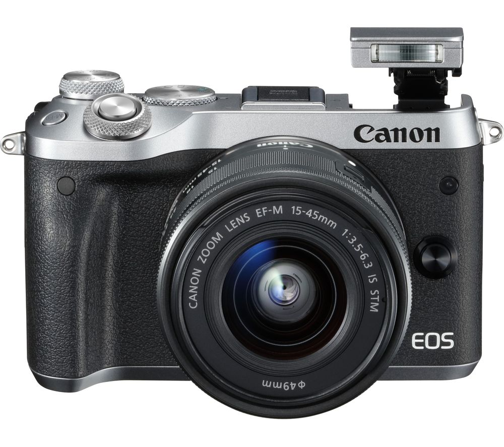 CANON EOS M6 Mirrorless Camera with 15-45 mm f/3.5-6.3 Lens - Silver