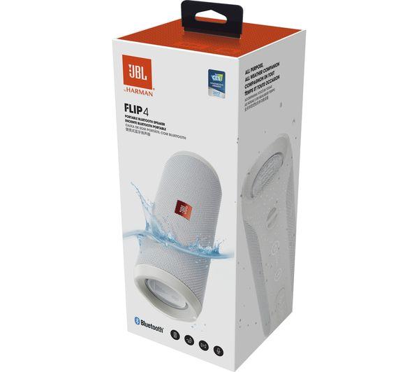 jbl flip 4 portable bluetooth wireless speaker white. Black Bedroom Furniture Sets. Home Design Ideas