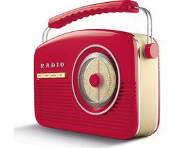 AKAI Portable DAB+/FM Retro Bluetooth Clock Radio - Red