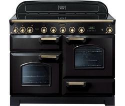 RANGEMASTER Classic Deluxe 110 Electric Induction Range Cooker - Black & Brass