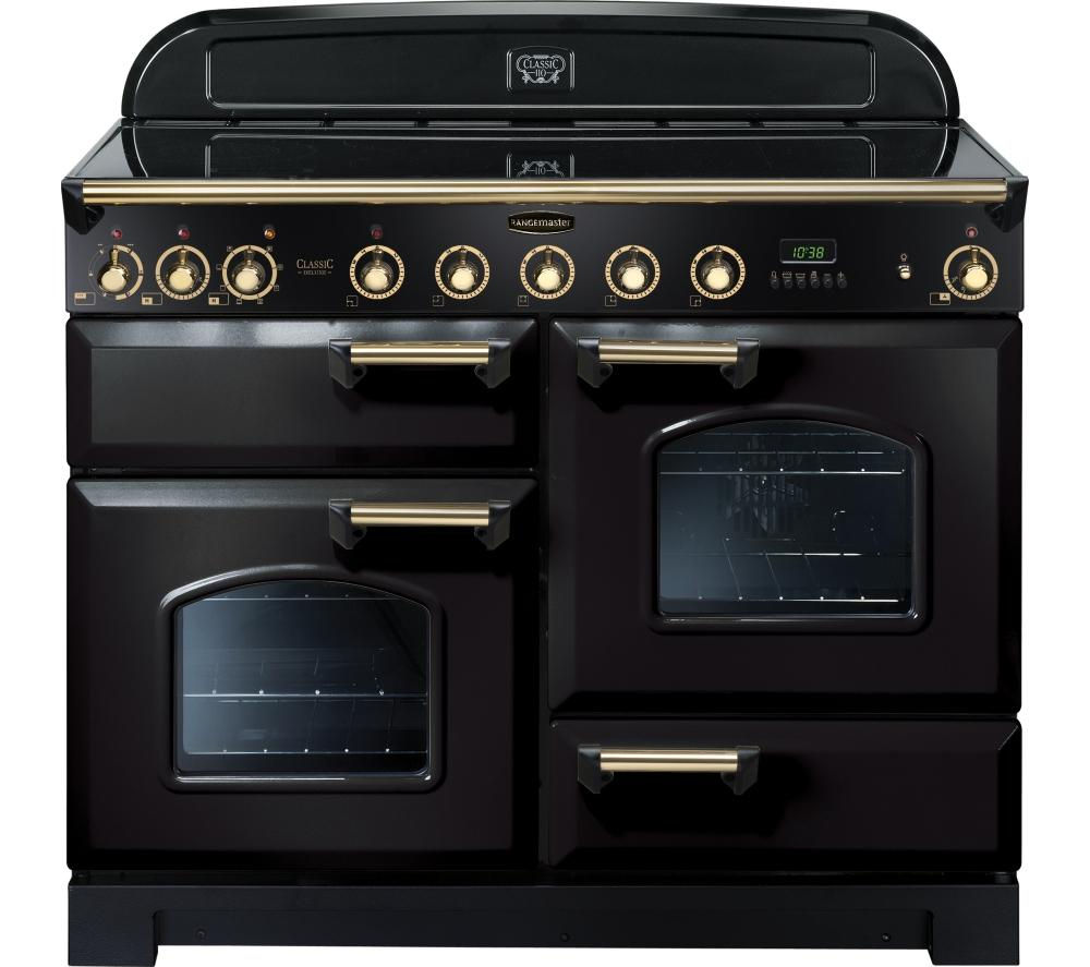 RANGEMASTER  Classic Deluxe 110 Electric Induction Range Cooker  Black & Brass Black