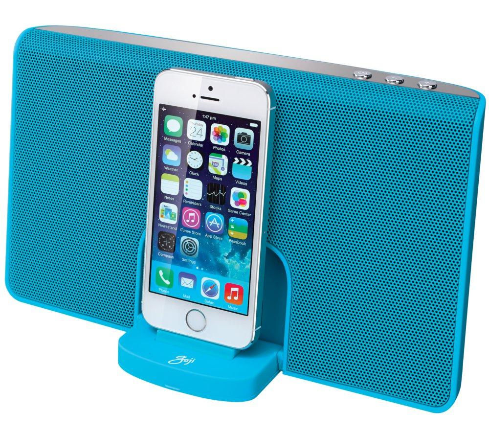 Image of GOJI GRLIN14 Portable Speaker Dock - with Apple Lightning Connector, Blue