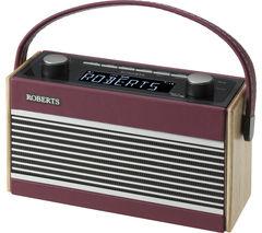 ROBERTS Rambler Portable DAB+/FM Clock Radio - Burgundy