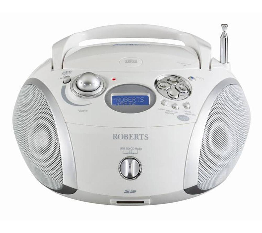 Buy roberts zoombox 2 portable dab radio white silver - Mobile porta cd ...