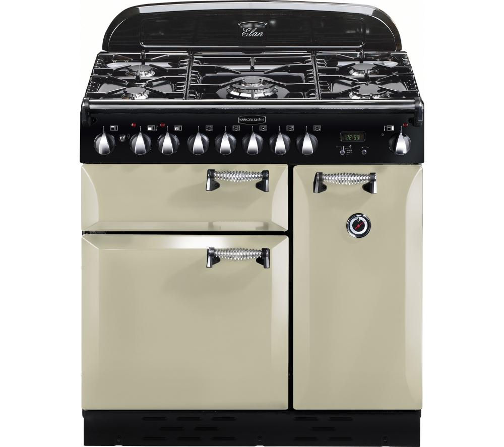 RANGEMASTER Elan 90 Dual Fuel Range Cooker - Cream & Chrome