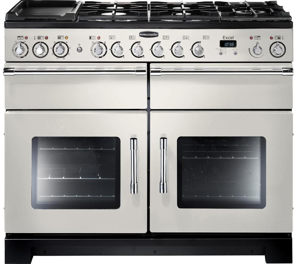 RANGEMASTER Excel 110 Dual Fuel Range Cooker - Ivory & Chrome
