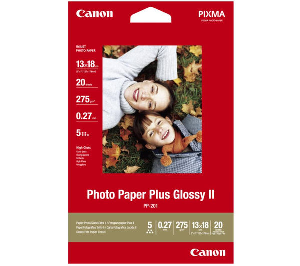 CANON 130 x 180 mm Photo Paper Plus Glossy II – 20 Sheets